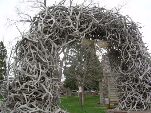 Famous elk antler arch in Jackson square